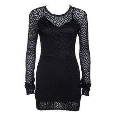 Dolce & Gabbana Black Crochet Knit Lace Mini Dress S