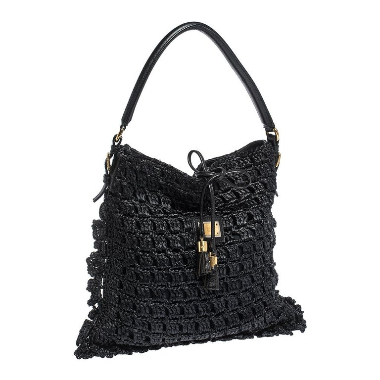 Women's Dolce & Gabbana Black Crochet Straw and Leather Hobo For Sale