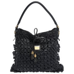 Dolce & Gabbana Black Crochet Straw and Leather Hobo