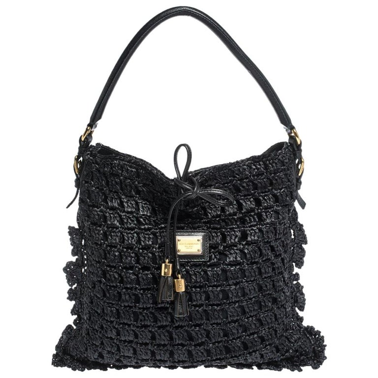 Dolce & Gabbana Black Crochet Straw and Leather Hobo For Sale