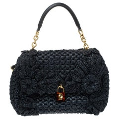 Dolce & Gabbana Black Crochet Straw and Leather Miss Dolce Top Handle Bag