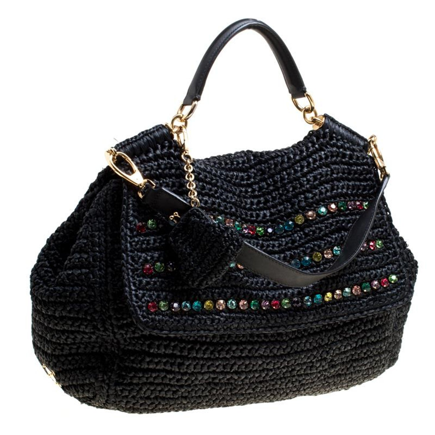 7d0362f1b38 Dolce and Gabbana Black Crochet Straw Miss Sicily Top Handle Bag For Sale  at 1stdibs