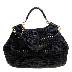 Dolce & Gabbana Black Crochet Straw Miss Sicily Top Handle Bag
