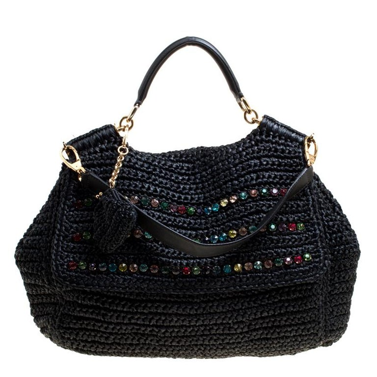 86d6c9cd8a Dolce and Gabbana Black Crochet Straw Miss Sicily Top Handle Bag For Sale  at 1stdibs