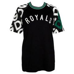 Dolce & Gabbana Black DG Mania Print Jersey Embroidery Crew Neck T Shirt IT 40