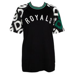 Dolce & Gabbana Black DG Mania Print Jersey Embroidery Crew Neck T Shirt IT 44