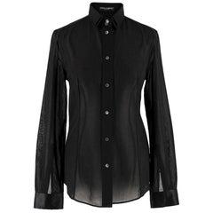 Dolce & Gabbana Black Double-Layered Collar Shirt estimated size UK 8