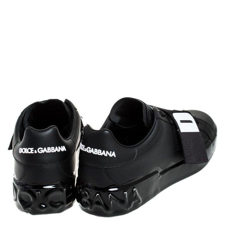 Dolce & Gabbana Black Elastic Logo Leather Melt Portofino Sneakers Size 42.5 In New Condition For Sale In Dubai, Al Qouz 2