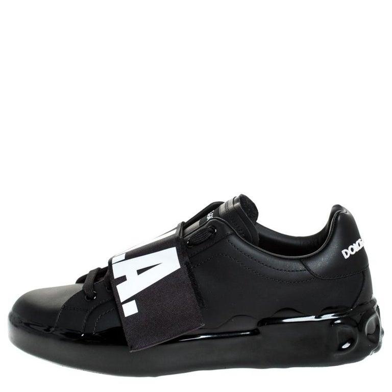 Dolce & Gabbana Black Elastic Logo Leather Melt Portofino Sneakers Size 42.5 For Sale 2