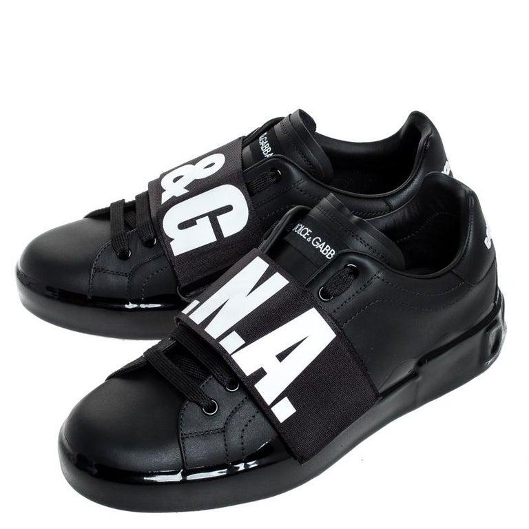Dolce & Gabbana Black Elastic Logo Leather Melt Portofino Sneakers Size 42.5 For Sale 3