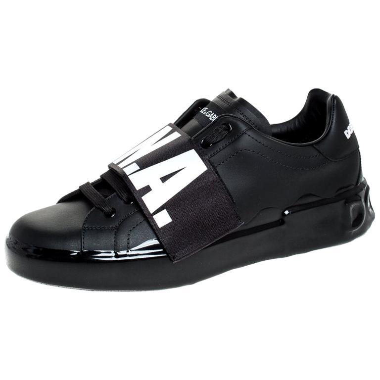 Dolce & Gabbana Black Elastic Logo Leather Melt Portofino Sneakers Size 42.5 For Sale