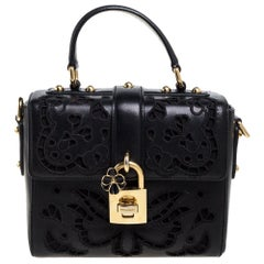 Dolce & Gabbana Black Embroidered Cutout Leather Padlock Top Handle Bag