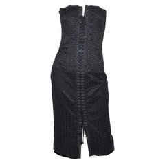 Dolce & Gabbana Black Eyelet Corset Dress with Lace-Up Tie