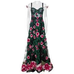 Dolce & Gabbana Black Floral Applique Embellished Tulle Corset Gown M