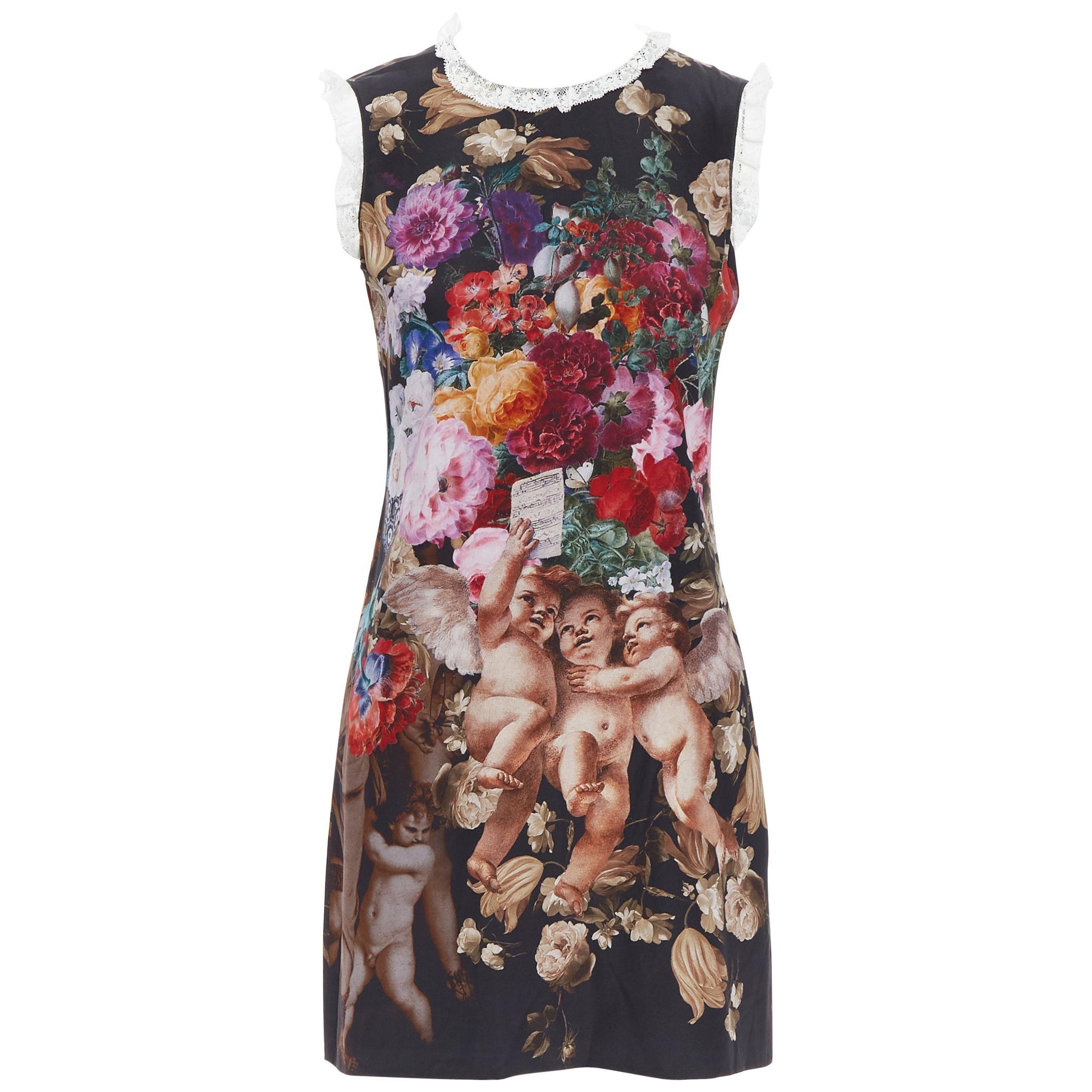 DOLCE GABBANA black floral cherub cupid print lace trimmed mini silk dress IT36