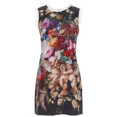 DOLCE GABBANA black floral cherub cupid print lace trimmed mini silk dress IT36