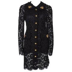 Dolce & Gabbana Black Floral Lace Bee Appliqued Shift Dress L