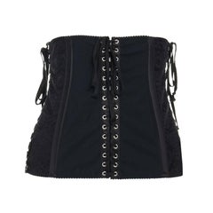 DOLCE GABBANA black floral lace boned laced up corset belt IT42 M