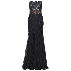 Dolce & Gabbana Black Floral Lace Bustier Detail Strapless Gown M