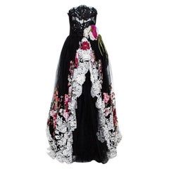 Dolce & Gabbana Black Floral Lace Overlay Strapless Ball Gown M