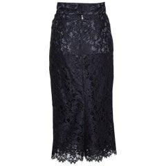 Dolce & Gabbana Black Floral Lace Pencil Skirt M