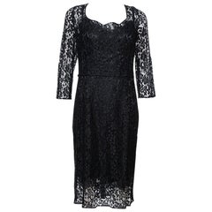 Dolce & Gabbana Black Floral Lace Sheath Dress L