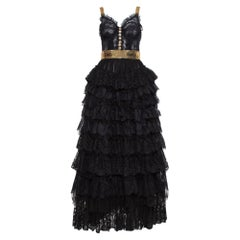 Dolce & Gabbana Black Floral Lace & Tulle Sequin Embellished Tiered Evening Gown