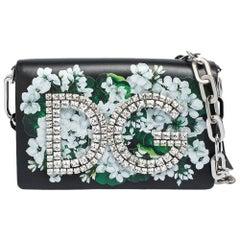 Dolce & Gabbana Black Floral Print Leather DG Girls Clutch Bag