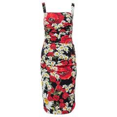 Dolce & Gabbana Black Floral Print Silk Ruched Dress S