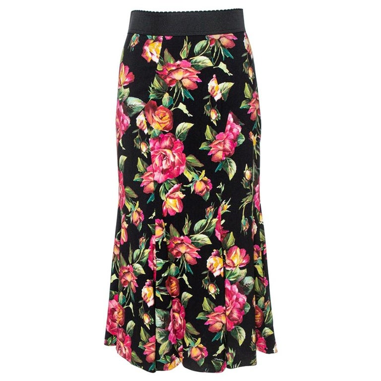 Dolce & Gabbana Black Floral Printed Cotton Flared Skirt S For Sale