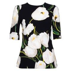 Dolce & Gabbana Black Floral Printed Crepe Three Quarter Sleeve Top S