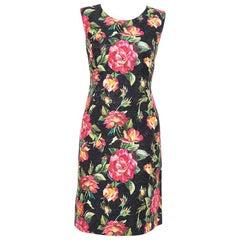 Dolce & Gabbana Black Floral Printed Jacquard Sheath Dress M