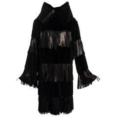 Dolce & Gabbana black fur and leather fringed coat, fw 2003