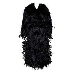 Dolce & Gabbana Black Fur Long Sleeve Maxi Coat IT 42
