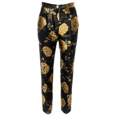 Dolce & Gabbana Black/Gold Floral Jacquard Straight Leg Trousers S