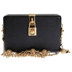 Dolce & Gabbana Black Iguana Leather Crystal Bag