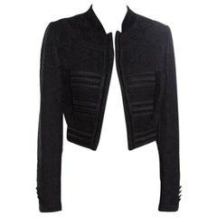 Dolce & Gabbana Black Jacquard Corded Applique Velvet Trim Cropped Jacket S