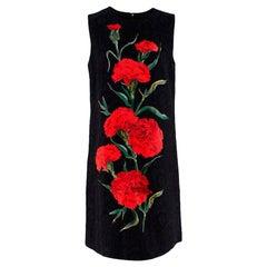 Dolce & Gabbana Black Jacquard Floral Print Sleeveless Dress - Size US 8