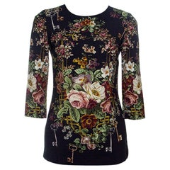 Dolce & Gabbana Black Key and Floral Print Long Sleeve Top S