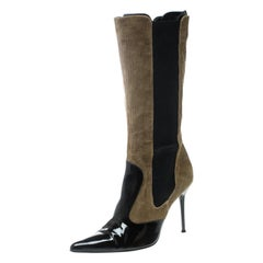 Dolce & Gabbana Black/Khaki Green Patent Leather and Corduroy Boots Size 39