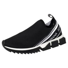 Dolce & Gabbana Black Knit Fabric Sorrento Slip On Sneakers Size 41.5