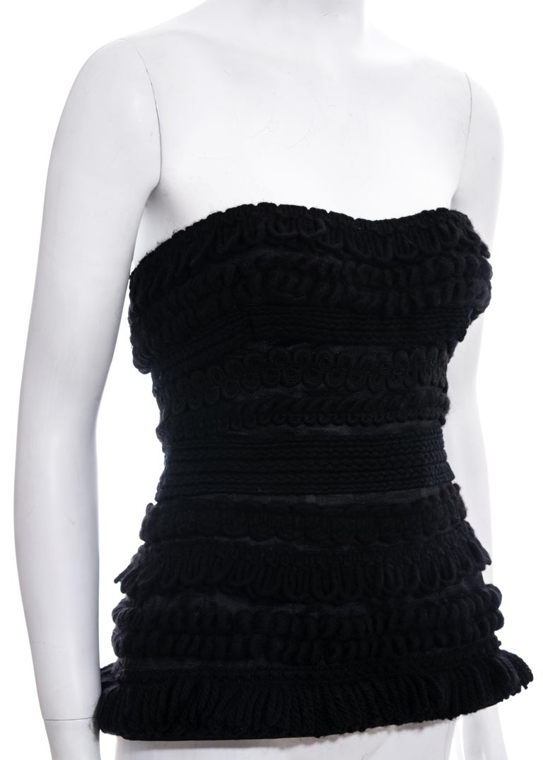 Black Dolce & Gabbana black knitted wool strapless corset, fw 2010 For Sale