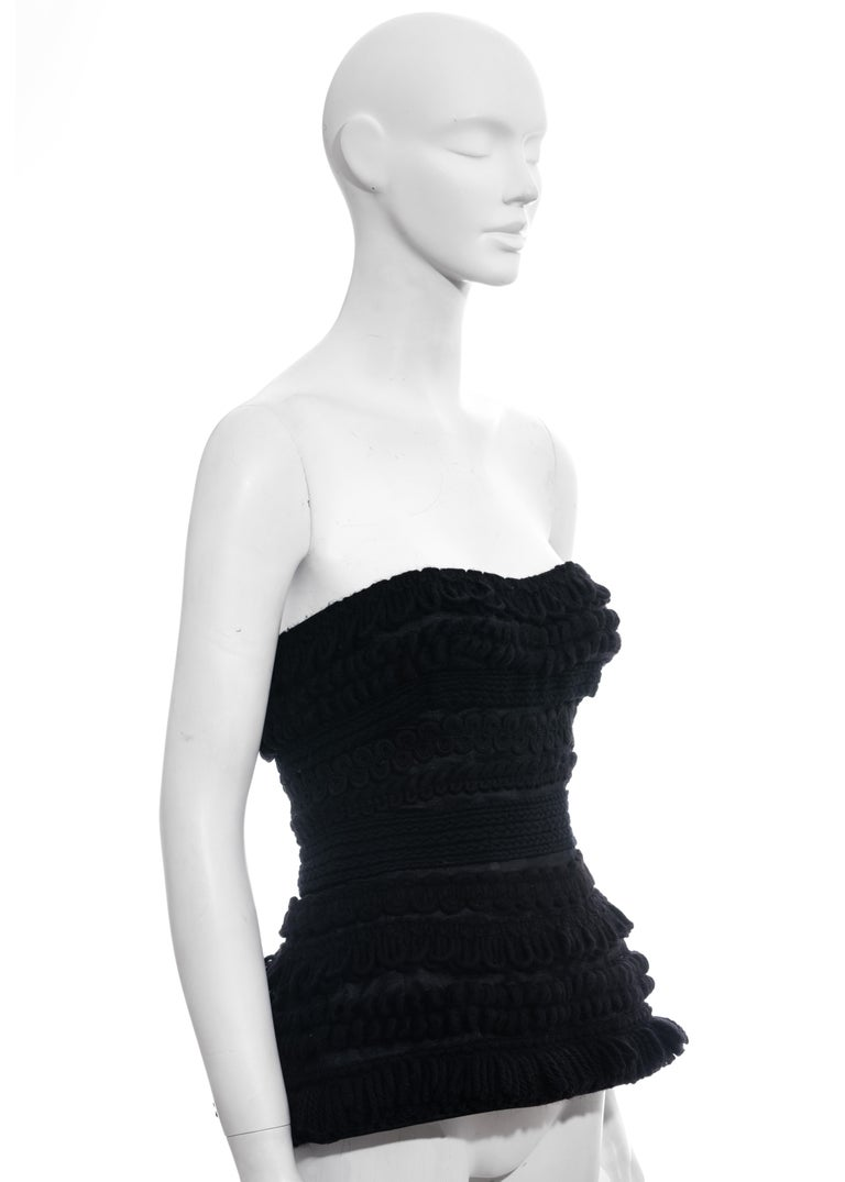 Women's Dolce & Gabbana black knitted wool strapless corset, fw 2010 For Sale