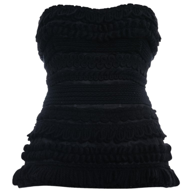 Dolce & Gabbana black knitted wool strapless corset, fw 2010 For Sale