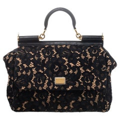 Dolce & Gabbana Black Lace And Leather Medium Miss Sicily Top Handle Bag