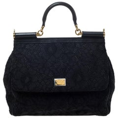 Dolce & Gabbana Black Lace and Leather Miss Sicily Top Handle Bag