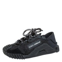 Dolce & Gabbana Black Lace And Nylon Ns1 Low Top Sneakers Size 36