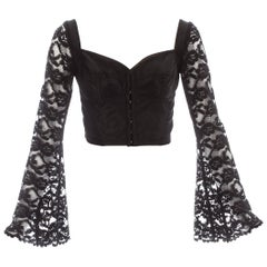 Dolce & Gabbana black lace and satin corset blouse, c. 1993