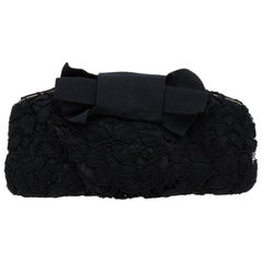 Dolce & Gabbana Black Lace Bow Evening Bag