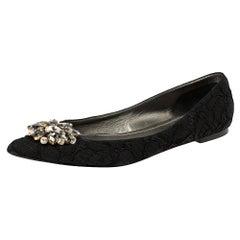Dolce & Gabbana Black Lace Crystal Embellished Pointed Toe Flats Size 41